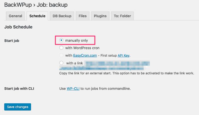 BackWPupのスケジュール設定